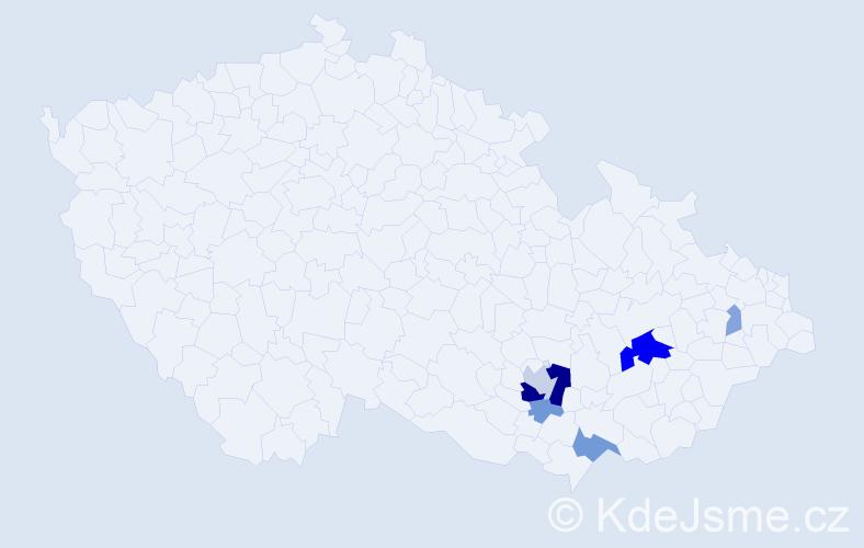 Příjmení: 'Čakloš', počet výskytů 18 v celé ČR