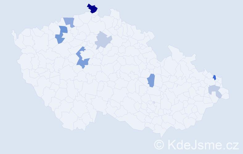 Příjmení: 'Ihln', počet výskytů 18 v celé ČR