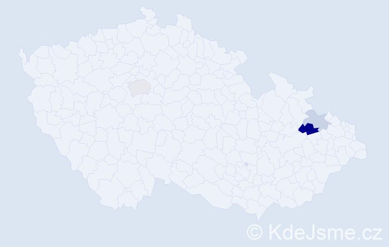 Příjmení: 'Ebstová', počet výskytů 5 v celé ČR