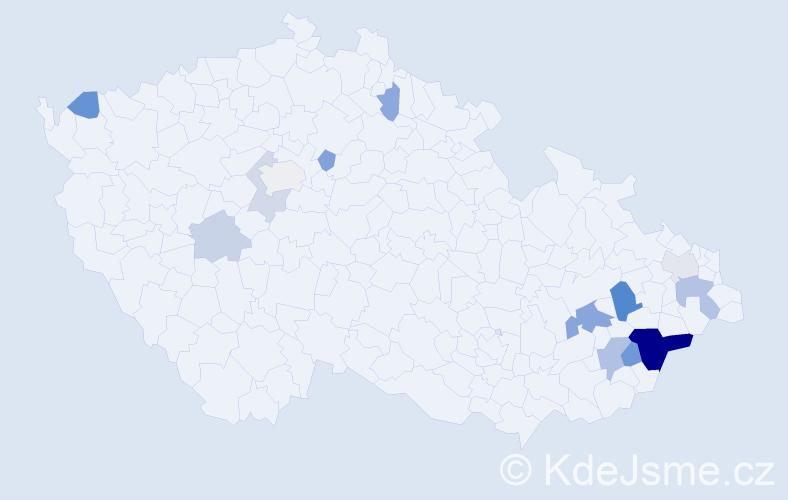 Příjmení: 'Černotík', počet výskytů 30 v celé ČR