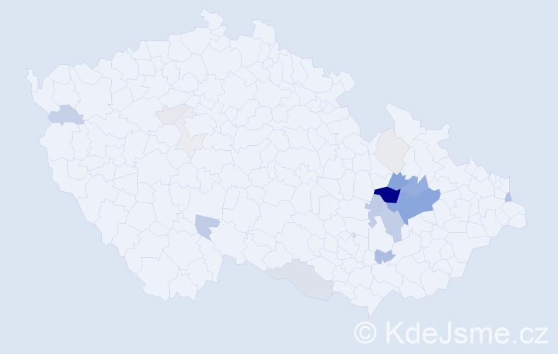 Příjmení: 'Čunderle', počet výskytů 76 v celé ČR