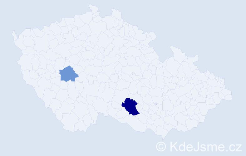 Příjmení: 'Gerič', počet výskytů 4 v celé ČR