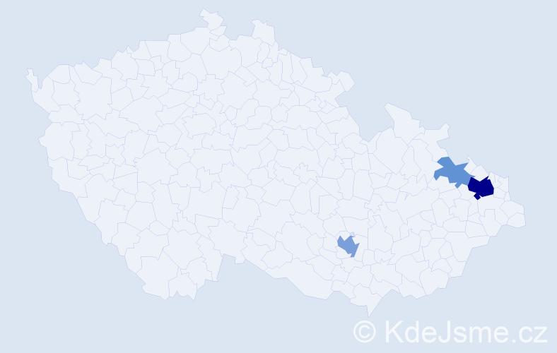 Příjmení: 'Asmus', počet výskytů 9 v celé ČR