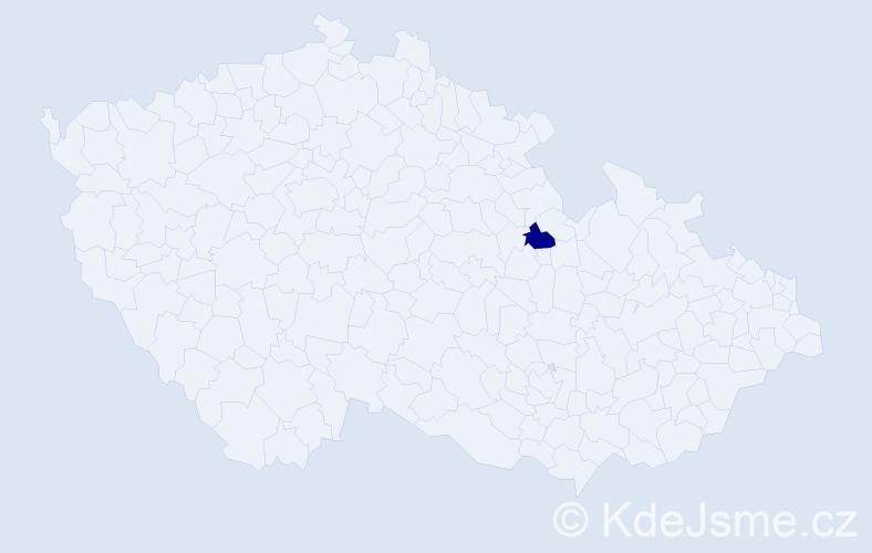 Příjmení: 'Écsi', počet výskytů 1 v celé ČR