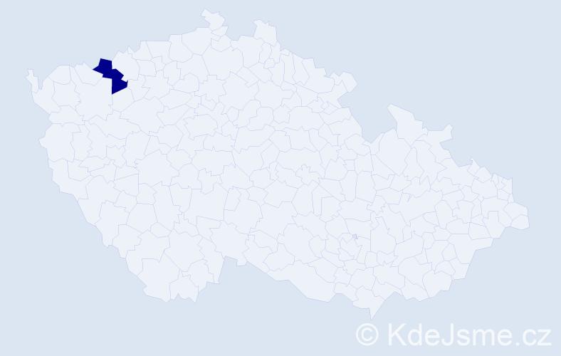 """Příjmení: '""""Čóka Teru""""', počet výskytů 1 v celé ČR"""