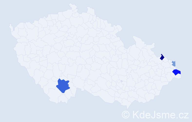 Příjmení: 'Mainka', počet výskytů 7 v celé ČR
