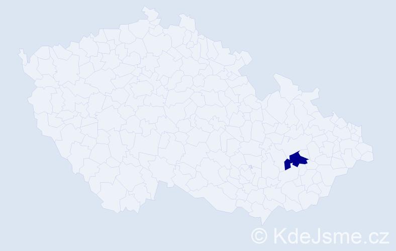"""Příjmení: '""""De Hoogová""""', počet výskytů 2 v celé ČR"""