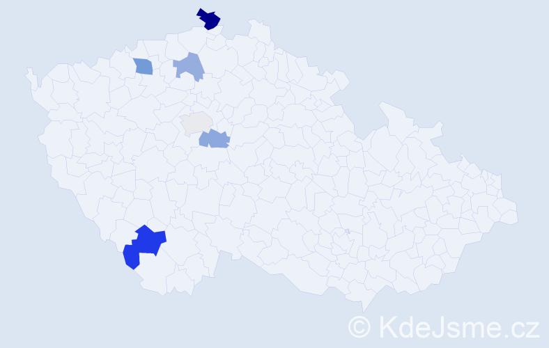 Příjmení: 'Baňacký', počet výskytů 10 v celé ČR