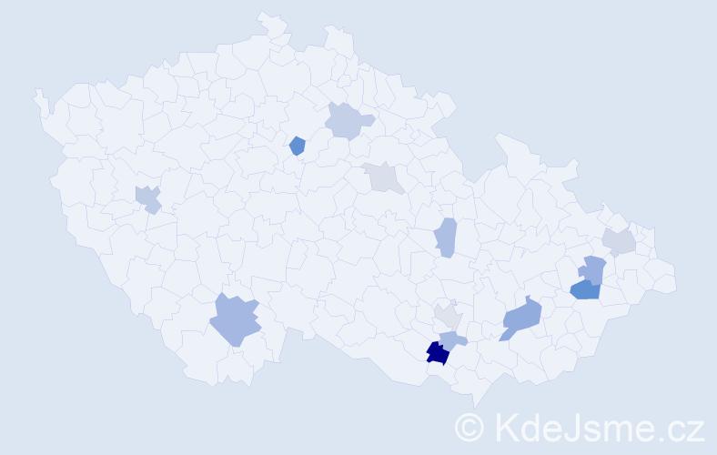 Příjmení: 'Jánková', počet výskytů 30 v celé ČR
