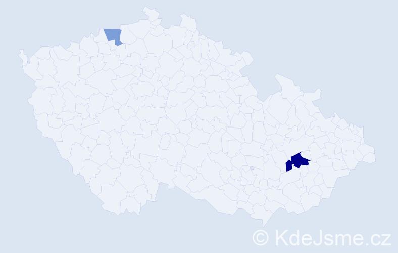 Příjmení: 'Bartaková', počet výskytů 4 v celé ČR