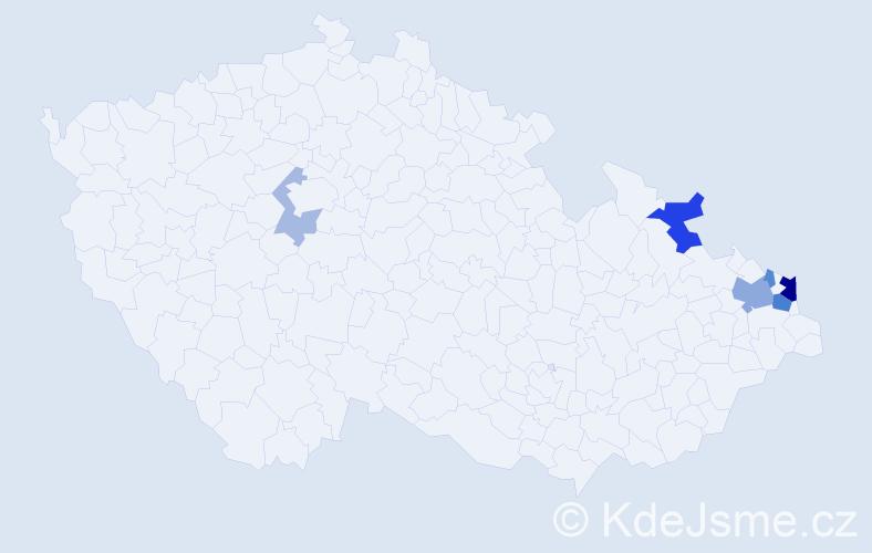 Příjmení: 'Huplík', počet výskytů 15 v celé ČR