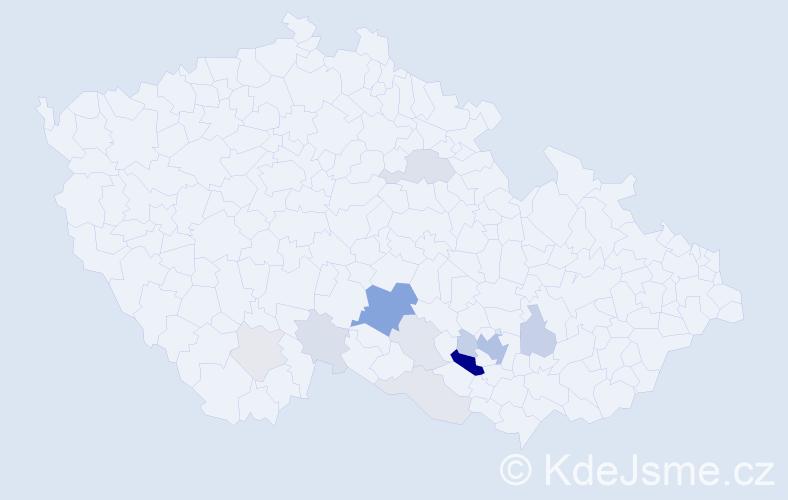 Příjmení: 'Haičmanová', počet výskytů 43 v celé ČR