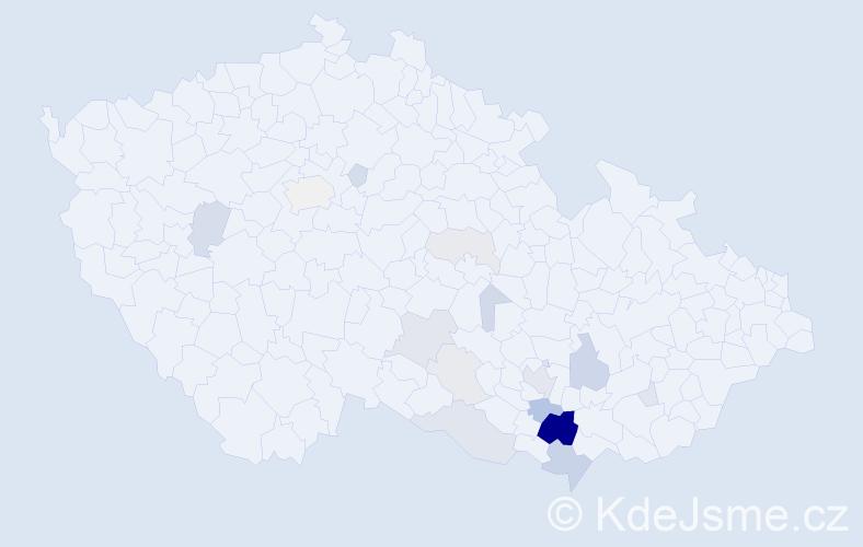 Příjmení: 'Hádlík', počet výskytů 56 v celé ČR