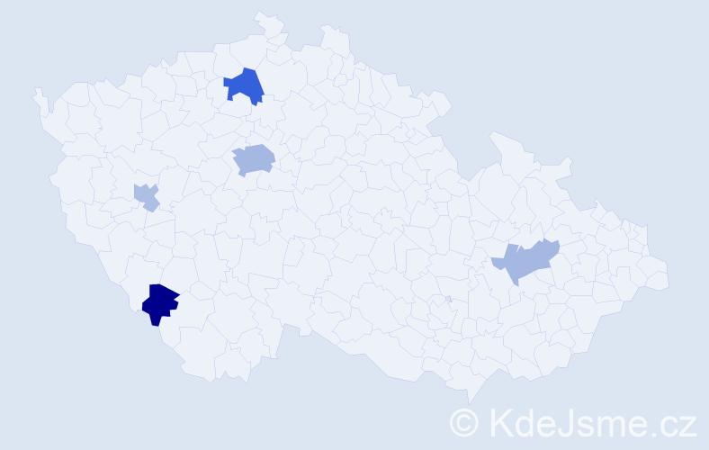 Příjmení: 'Harvařík', počet výskytů 11 v celé ČR