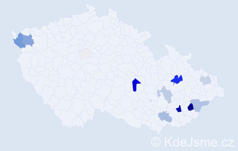 Příjmení: 'Baška', počet výskytů 20 v celé ČR