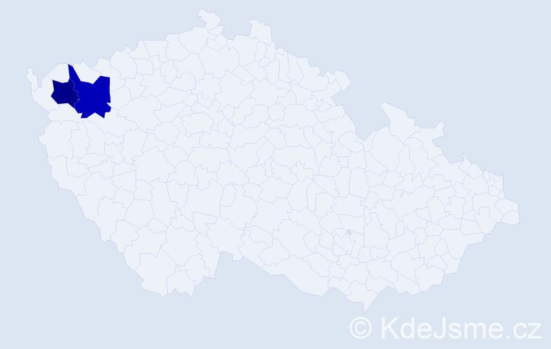 Příjmení: 'Děbnárová', počet výskytů 8 v celé ČR