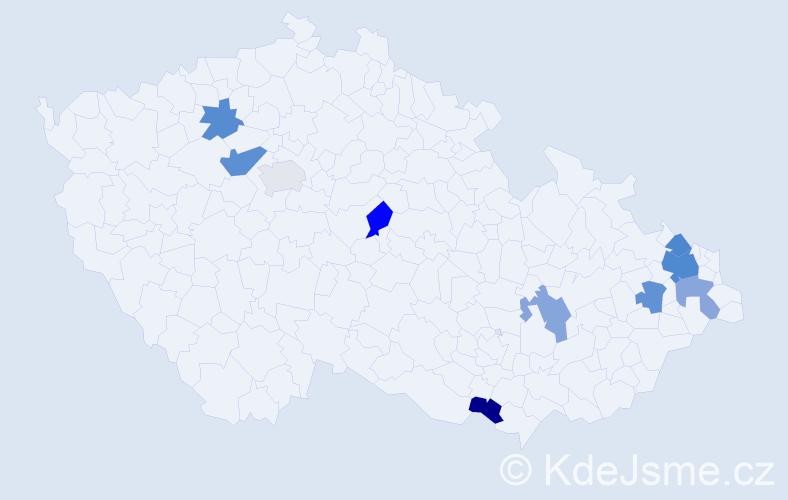 Příjmení: 'Jaňák', počet výskytů 15 v celé ČR