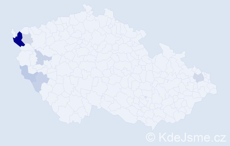 Příjmení: 'Červenický', počet výskytů 19 v celé ČR