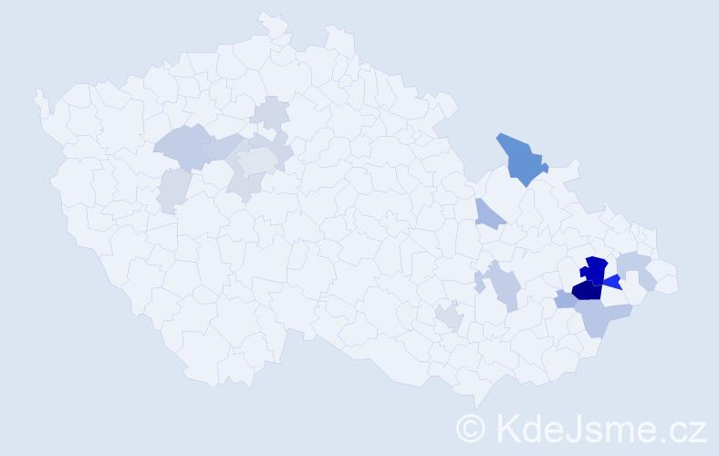 Příjmení: 'Holeňa', počet výskytů 79 v celé ČR