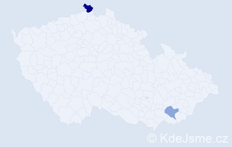 Příjmení: 'Koran', počet výskytů 3 v celé ČR