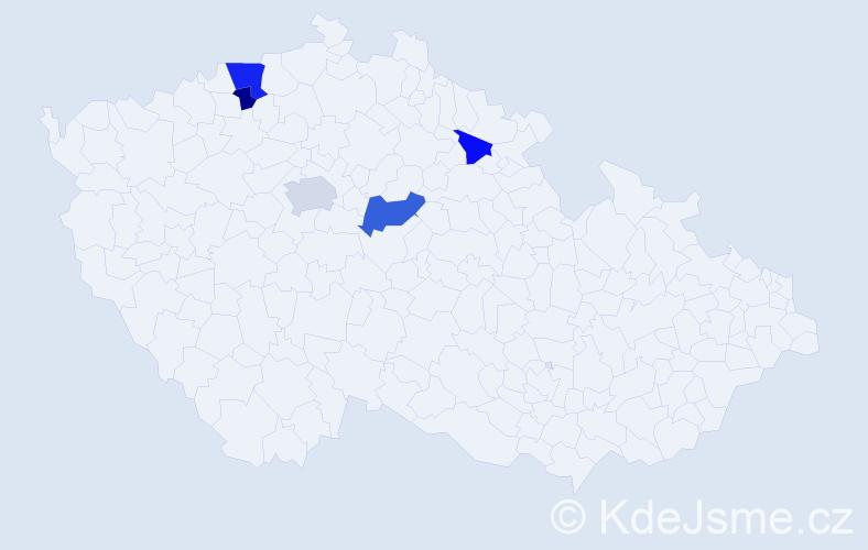 Příjmení: 'Kačinová', počet výskytů 9 v celé ČR