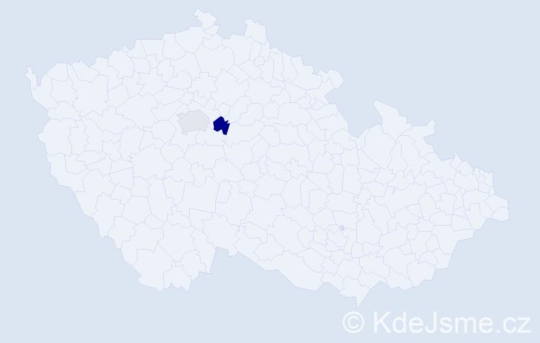 Příjmení: 'Daajová', počet výskytů 2 v celé ČR