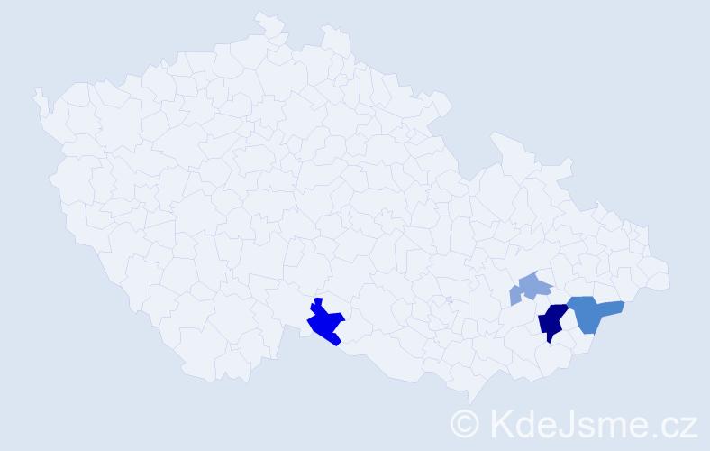 Příjmení: 'Gálíková', počet výskytů 9 v celé ČR
