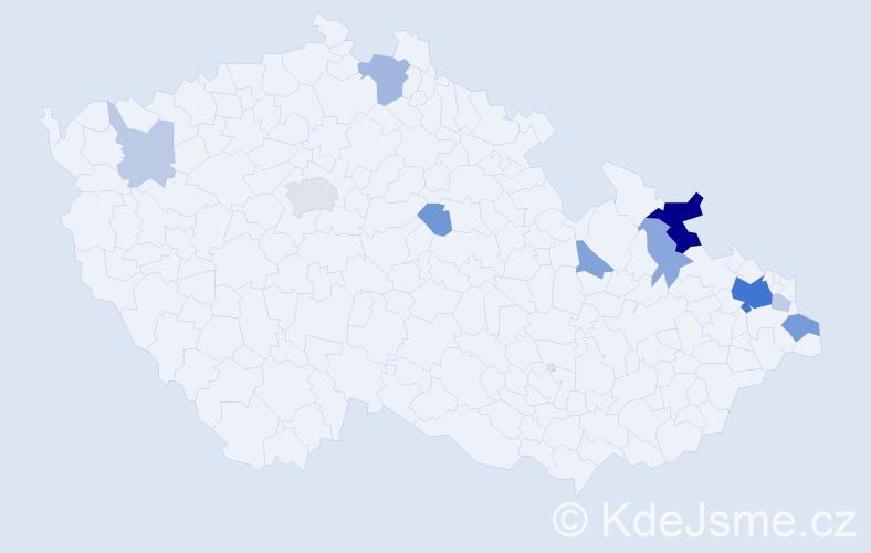 Příjmení: 'Čimburová', počet výskytů 30 v celé ČR
