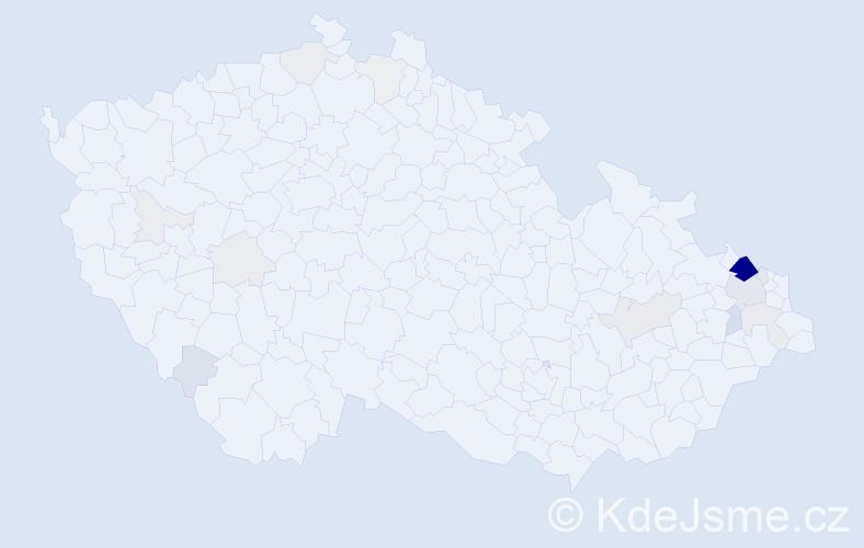 Příjmení: 'Cigánová', počet výskytů 74 v celé ČR