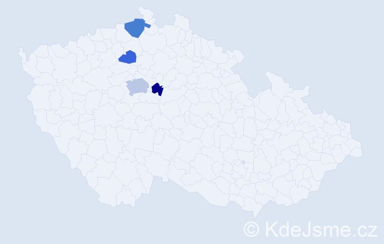 Příjmení: 'Egem', počet výskytů 8 v celé ČR