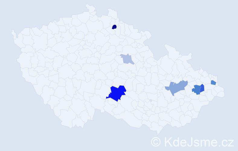 Příjmení: 'Gardlo', počet výskytů 16 v celé ČR