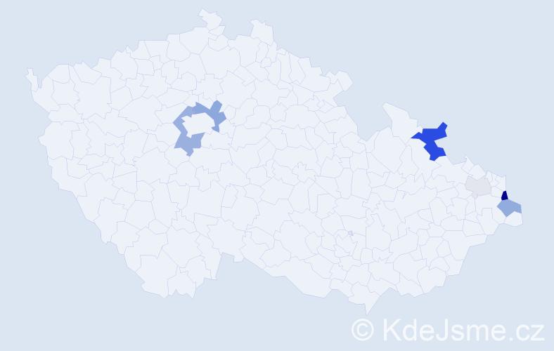 Příjmení: 'Gaš', počet výskytů 19 v celé ČR