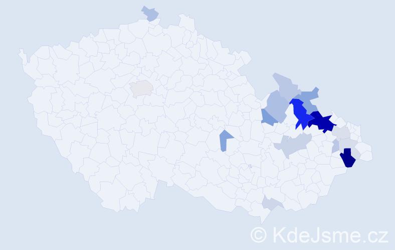 Příjmení: 'Hadámek', počet výskytů 48 v celé ČR
