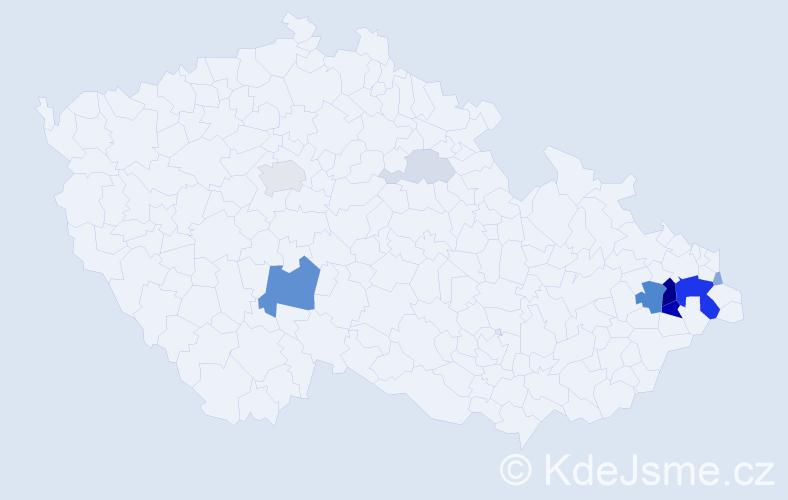Příjmení: 'Kabuďa', počet výskytů 34 v celé ČR