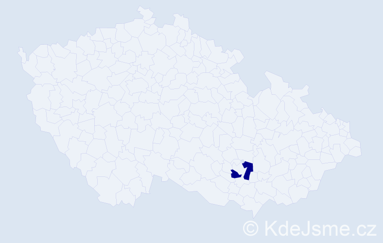 """Příjmení: '""""Čejková Ambrožová""""', počet výskytů 1 v celé ČR"""