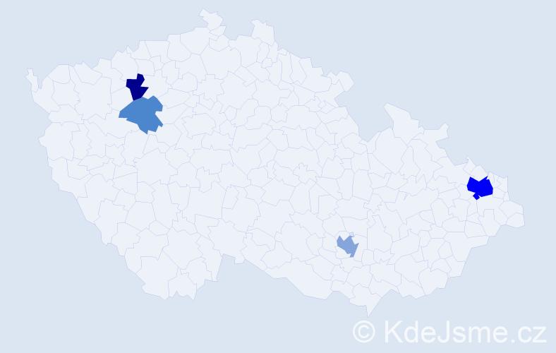 Příjmení: 'Bencalíková', počet výskytů 10 v celé ČR