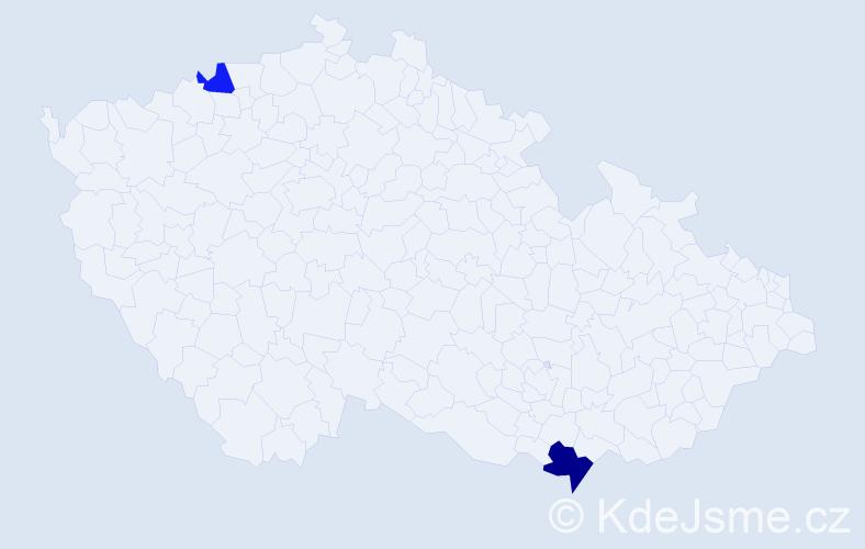 Příjmení: 'Gajdár', počet výskytů 3 v celé ČR