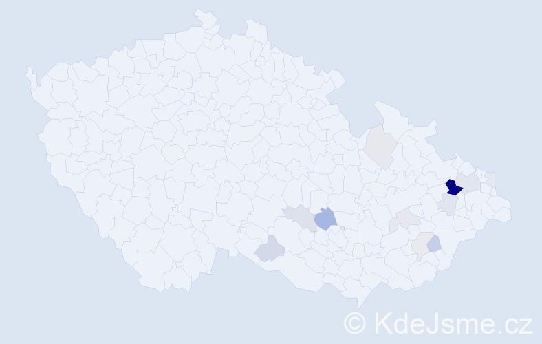 Příjmení: 'Havelek', počet výskytů 32 v celé ČR