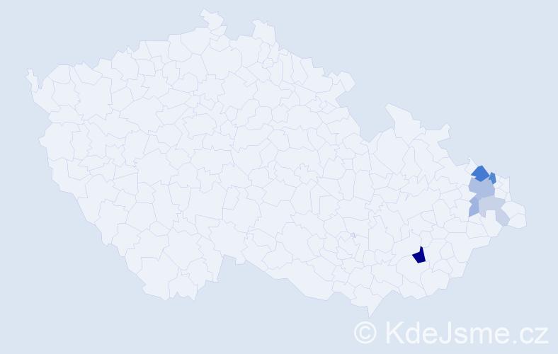 Příjmení: 'Cívelová', počet výskytů 16 v celé ČR