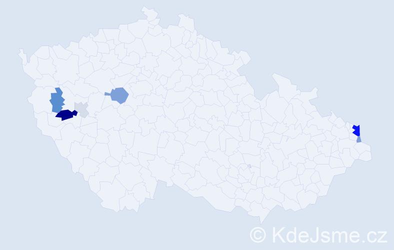 Příjmení: 'Hulina', počet výskytů 15 v celé ČR
