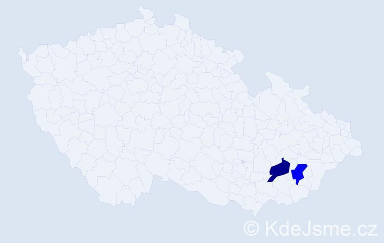 Příjmení: 'Cabánik', počet výskytů 2 v celé ČR