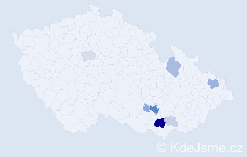 Příjmení: 'Donné', počet výskytů 47 v celé ČR