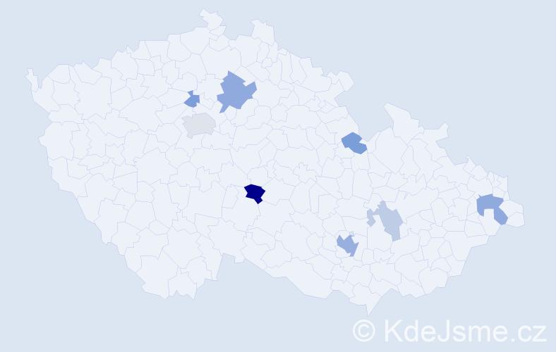 Příjmení: 'Chmelo', počet výskytů 17 v celé ČR