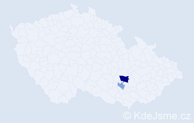 Příjmení: 'Knaurek', počet výskytů 4 v celé ČR