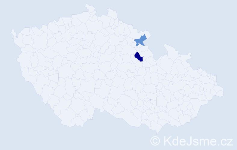 Příjmení: 'Ďordík', počet výskytů 2 v celé ČR
