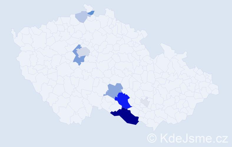 Příjmení: 'Konecká', počet výskytů 28 v celé ČR