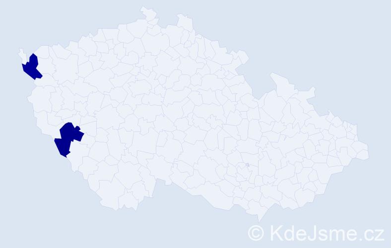 Příjmení: 'Hůf', počet výskytů 2 v celé ČR