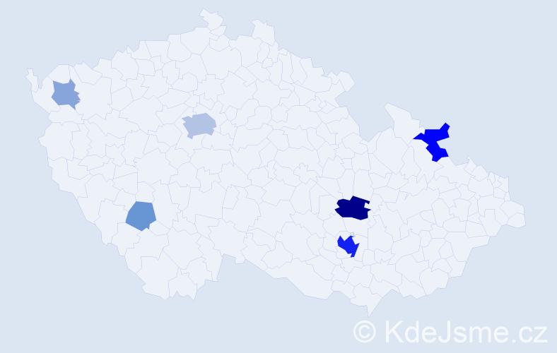 Příjmení: 'Bursáková', počet výskytů 22 v celé ČR