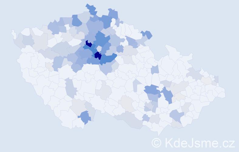 Příjmení: 'Kolínský', počet výskytů 480 v celé ČR