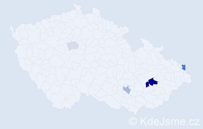 Příjmení: 'Hakunová', počet výskytů 5 v celé ČR